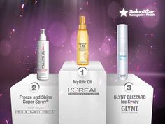 """Hier sind sie, Eure """"Hairdressers most voted"""" die SalonStars 2013 in der Kategorie Finish:    1. Mythic Oil  - L'Oréal Professionnel  2. Freeze and Shine Super Spray®  - PAUL MITCHELL®  3. GLYNT BLIZZARD Ice Spray  - GLYNT"""