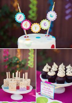 Polka Dot & Rainbow Paint Themed Birthday Party