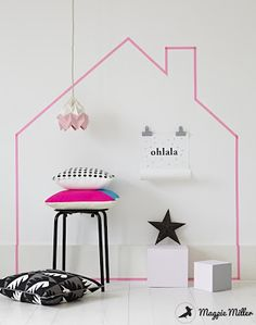 Wall art house Silhouette with MT Masking tape for a child or teenagers bedroom #washi by Magpie miller*