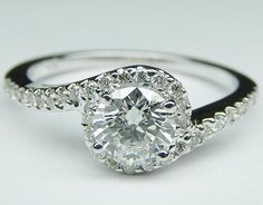 Fancy - Engagement Ring - Round Diamond Swirl Engagement Ring in 14K White Gold 0.16 tcw. - ES345