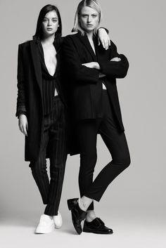 (l) Mango pinstripe suit and pinstripe coat + Zara creepers | (r) Mango pinstripe suit + American apparel coat + oxfords