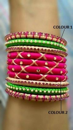 Pink Crossed and Green Bangle Set