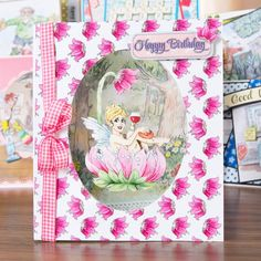 Fairy embellished card made using the La Pashe Gnomes and Fairies CD ROM! Buy now: http://www.createandcraft.tv/ShowGridView.aspx?showId=2505114 #papercraft #cardmaking #craft