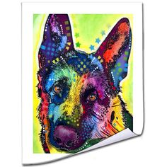 This print on high quality canvas features a vibrant portrait of a German Shepherd. Art and animals. These two passions define Dean, a Brooklyn, New York-based artist who uses vibrant Pop Art colors a