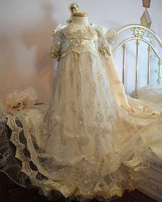 2016 Hot Infant Girl Toddler Christening Baptism Dress Gown White Ivory Custom