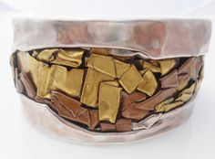 STERLING Bracelet Mid Century Modern Mixed Metals by Libbysmomsvintage, $275.00