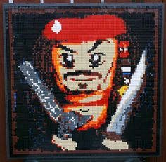 A Lego Mosaic of Jack Sparrow by Dave Ware of brickwares.com