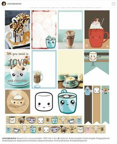 hot chocolate stickers, hot cocoa, minibook, mini book, MB, planner