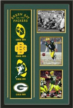 Green Bay Packers Banner With Logos - Bart Starr 1967 Ice Bowl Touchdown photo, Brett Favre Shovel pass 2007 NFC photo, Aaron Rodgers action from super Bowl photo Framed With Different Team Photos-Awesome & Beautiful-Must For Any Fan! Art and More, Davenport, IA http://www.amazon.com/dp/B00GRMSI9A/ref=cm_sw_r_pi_dp_7CiHub1VMZK6J