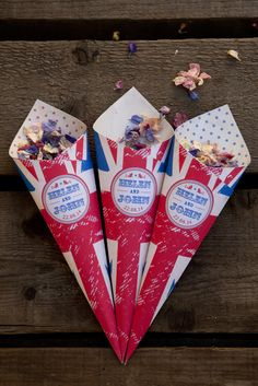Union Jack themed confetti cones from the wedding stationary range by Dottie Creations www.dottiecreations.com