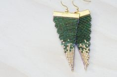 dilly bean // loom beaded earrings // emerald by PigmentProject