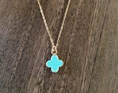 Turquoise clover pendant available at https://www.etsy.com/shop/JEMINIshop