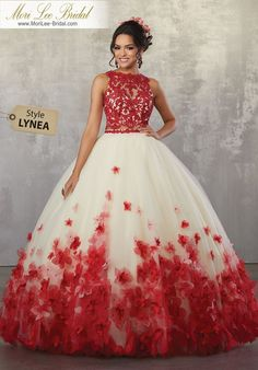 Two-Piece Gown with Beaded Lace on Net Top and Ballgown Skirt Fun and Feminine, This Quinceañera Ballgown Beautifully Combines a Beaded Lace Bodce and Full Ballgown Skirt Accented in Three Dimensional Flowers. Matching Stole Included.  89175