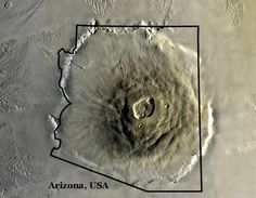 "Olympus Mons on Mars is the biggest volcano in the Solar System. It's nearly three times the height of Mount Everest at nearly 22 km (14 miles) and as big as Arizona. (Photo: JPL NASA) ©Mona Evans, ""10 Amazing Facts about the Solar System"" http://www.bellaonline.com/articles/art33026.asp"