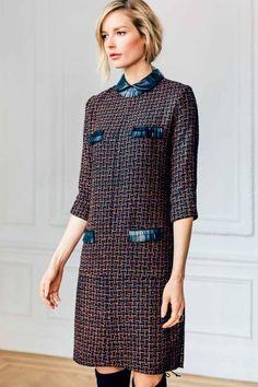 Jewel Neck Collar Shift Dress with Bracelet Length Sleeve and Leather Fringe Detail