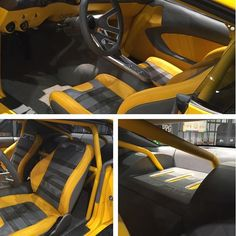 The impulse camaro custom door panel crafted from scratch by sewseam blend the design into a fesler panel. yellow black grey. Custom Boxes, Custom Cars, Shiva Linga, Custom Car Interior, Roll Cage, Car Interiors, Center Console, Drag Cars, Panel Doors