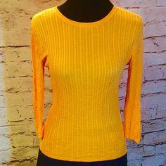 POLO JEANS ORANGE 3/4 SLEEVE LIGHTWEIGHT SWEATER Pretty mango orange sweater with 3/4 sleeve Polo by Ralph Lauren Sweaters Crew & Scoop Necks