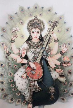 Should start a department - Environmental Genetics = High Energy Physics + Closed Quantum Gravity to overview Pandit's Quantum Genetics. South East is always safe. (Male controlled regions) Feminist section of world are under Saraswati Goddess, Indian Goddess, Goddess Art, Goddess Lakshmi, Indian Art Paintings, India Art, Hindu Deities, Krishna Art, Grafik Design