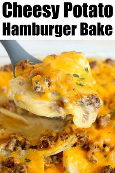Cheesy hamburger potato casserole is perfect for breakfast or a potluck! Like cheeseburger scalloped potatoes, this will become a family fave. Ground Beef Potato Casserole, Scalloped Potato Casserole, Hamburger And Potatoes, Meat And Potatoes Recipes, Ground Beef And Potatoes, Scalloped Potato Recipes, Easy Potato Recipes, Potatoe Casserole Recipes, Meat Recipes