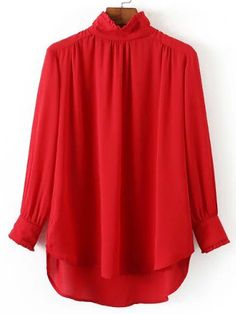 Red+Frill+Neck+Chiffon+Loose+Blouse+19.99
