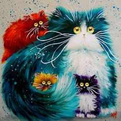Kim Haskins cat art                                                                                                                                                      More and like OMG! get some yourself some pawtastic adorable cat shirts, cat socks, and other cat apparel by tapping the pin!