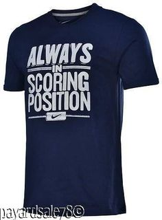 MEN'S SIZE LARGE FUNNY NIKE T-SHIRT ALWAYS IN SCORING POSITION SWOOSH NAVY TEE