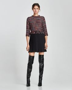 Image 1 of TWEED DRESS WITH PLEATED HEM from Zara