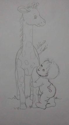 Nenhum texto alternativo automático disponível. Giraffe Crafts, Giraffe Art, Colouring Pages, Coloring Books, Embroidery Patterns, Hand Embroidery, Fuzzy Posters, Baby Elephant Nursery, Nursery Paintings