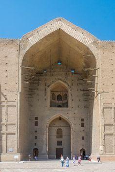 The main entrance to the Mausoleum of Khawaja Ahmed Yasawi in Turkestan, Kazakhstan. Kazakhstan Travel, Epic Photos, Main Entrance, Travel Backpack, Backpacking, Storytelling, Mount Rushmore, Adventure, Mountains