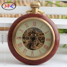 Retro fashion really genuine copper copper wood ring hollow hollow mechanical watch chain Rome literally T015