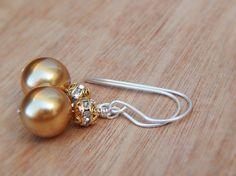 Gold bridesmaid earrings swarovski pearl by SheJustSaidYes on Etsy, $18.00
