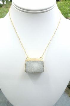 Layer Necklace! White Druzy Necklace -Gold Edged White Druzy by HalleGirlDesign on Etsy