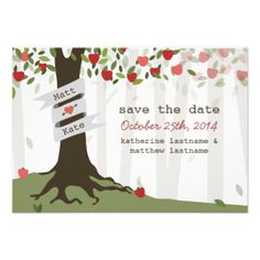 An outdoors fall wedding save the date featuring an illustration of an apple orchard with red apples. #wedding #save #the #date #tree #leaves #green #fall #wedding #autumn #wedding #apple #wedding #apple #orchard #apple #tree #outdoors #wedding #outside #wedding #forest
