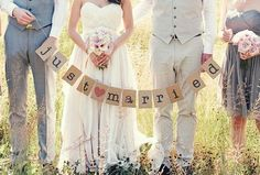 Vintage Insppired Chic Just Married Wedding Bunting Banner Garland Photo Booth Prop Photobooth
