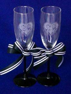 Nightmare Before Christmas Wedding Glasses Flutes Jack Sally Halloween Engraved | eBay
