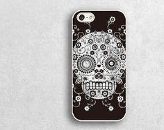 white floral skull iphone  cases 5c,iphone 4  case, iphone 5s case ,iphone 4s cases,iphone 5c cases,silicon or plastic iphone cases,b0324