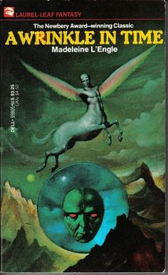 A Wrinkle in Time by Madeleine L'Engle. Wonderful book. I loved this when I was young. The 90 second video on the website pinned here doesn't really it do it justice, but it's quite funny. :) I wanted to pin this one for the classic cover art.