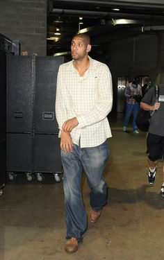 Tim Duncan, San Antonio Spurs Our Super Star. He's quiet, he goes to work, keeps his head down and doesn't easily get angry or least he's doesn't express it outwardly often. He's a model player with great sportsmanship and is a quiet leader. Love him