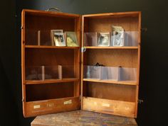 Vtg Leaflet Display Wood Suitcase Carry Case / Wooden Literature Store Display