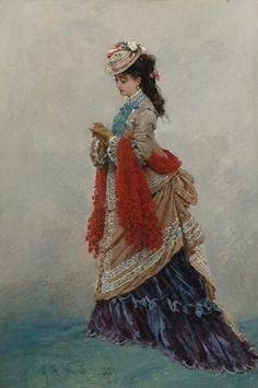 "fripperiesandfobs: "" An Elegant Lady Alphonse Marie de Neuville 1874 """