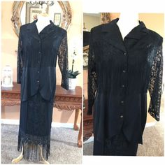 Elegant 2 Piece Lace Suit Vintage Skirt with long Shirt  Fringe Dress Size M mother of the Bride Cocktail Dress Day or Night Suit by GenesisVintageShop on Etsy