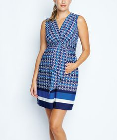 Love this Blue Crystal Tie-Front Maternity Empire-Waist Dress by Maternal America on #zulily! #zulilyfinds