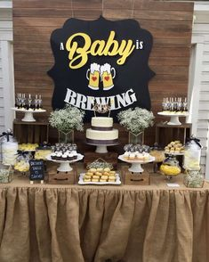 Baby Is Brewing Baby Shower Party Ideas Photo 4 of 12 Catch My Party 675610381585062860 Baby Shower Cakes, Baby Q Shower, Man Shower, Diaper Shower, Baby Shower Gender Reveal, Shower Party, Baby Shower Parties, Baby Shower Themes, Baby Shower Decorations