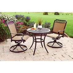 Better Homes and Gardens Paxton Place 3-Piece Outdoor Bistro Set, Seats 2 - Walmart.com