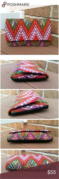 """Huipil Boho Ethnic  handmade embroidered clutch Huipil Handmade Woven Fabric Guatemalan Boho Clutch  Handmade hand woven fabric with natural imperfections. Height 6"""" Length: 9.5"""" Width:1.5"""". Please see pictures. Bags"""