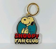 "Snoopy Fan Club Keychain Peanuts Vintage 1970s 3"" x 2 1/2"""