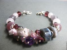 Купить Карамель2 - комбинированный, браслет, Браслет ручной работы, браслет из камней, браслет с камнями