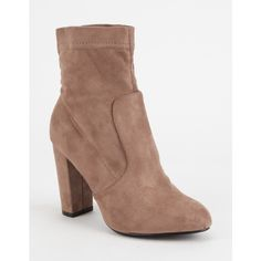 Yoki Faux Suede Womens Sock Boots ($21) ❤ liked on Polyvore featuring shoes, boots, ankle boots, slouch ankle boots, high heel boots, block heel ankle boots, pull on boots and slip on ankle boots