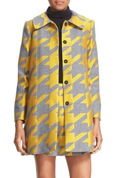 """- Exaggerated houndstooth checks cast in sunny citrus color bring mod verve to a wool-blend coat in a clean, A-line cut. - 33"""" length (size Medium). - Hidden front-snap closure. - Club collar. - Brace"""