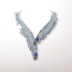 - Plumes de Martin-Pêcheur necklace, Palais de la chance collection - White gold, diamonds, sapphires, tourmaline, black spinels, 2 pear-shaped sapphires for a total weight of approximately 22 carats. The Plumes de Martin-Pêcheur necklace from the...